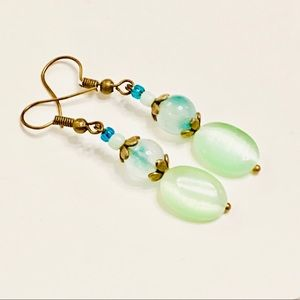 DAINTY SHOES Moss Agate Green Cat's Eye Earrings